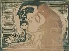 Edvard Munch (Norway, Løten, 1863 - 1944)  The Kiss, 1905  Print, Color woodcut, Framed: 22 3/4 x 28 3/16 in. (57.79 x 71.6 cm); sheet: 18 3/4 x 25 3/4 in. (47.63 x 65.41 cm); image: 15 3/4 x 21 3/8 in. (40.01 x 54.29 cm)  Los Angeles County Fund (62.7)  Prints and Drawings Department.