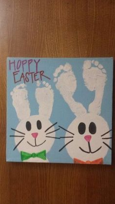 What you will need: canvas blue and white paint paint brush baby feet paint pens Directions: I painted my canvas light blue and let it dry. When it was dry I painted my 3 year olds feet and carefully pressed them onto the canvas and then I did the same t Easter Art, Hoppy Easter, Easter Crafts For Kids, Baby Crafts, Cute Crafts, Crafts To Do, Easter Bunny, Crafts For Babies, Spring Crafts