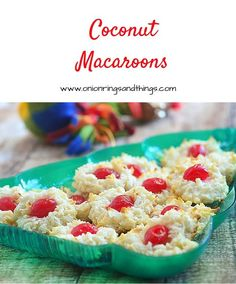 Soft and chewy coconut macaroons with maraschino cherry centers