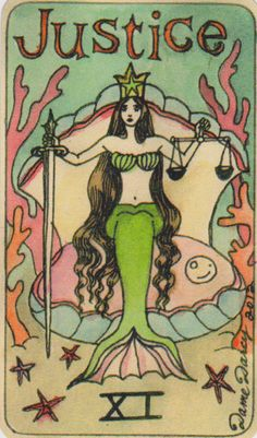 Dame Darcy Mermaid Tarot - Justice. Major Arcana. tarot cards. fortune telling. divination. oracle. Get her beautiful deck at her DameDarcy shop on Etsy!