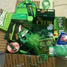 Patrick's Day Care Package: all things green! Soldier Care Packages, Deployment Care Packages, St Pattys, St Patricks Day, Adopt A Soldier, Green Teeth, Sour Skittles, Mint Gum, Club Crackers
