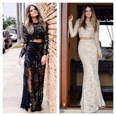 Thassia Naves - matching lace long-sleeved crop tops and maxi skirts for an elegant evening outfit