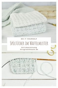 DIY for knitted dishcloths in a waffle pattern. The step-by-step instructions can be found on mrsgreenhouse.de # dishcloth pattern # DIY for knitted dishcloths in a waffle pattern. The step-by-step instructions find . Easy Knitting, Knitting For Beginners, Knitting Needles, Knitting Patterns, Crochet Baby, Free Crochet, Knit Crochet, Knit Dishcloth, Step By Step Instructions