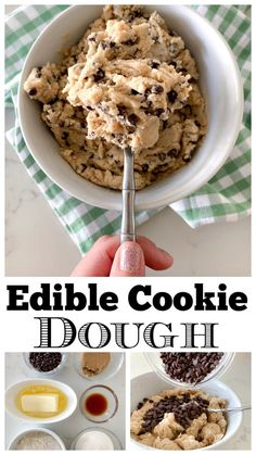 Edible Cookie Dough This Edible Eggless Cookie Dough takes just minutes to prepare and is absolutely delicious! Edible Cookie Dough Recipe For Two, Cookie Dough Vegan, Cookie Dough For One, Cookie Dough Desserts, Easy Vegan Cookies, Nutella Cookie, Homemade Cookie Dough, Easy Homemade Cookies, Cookie Dough Fudge