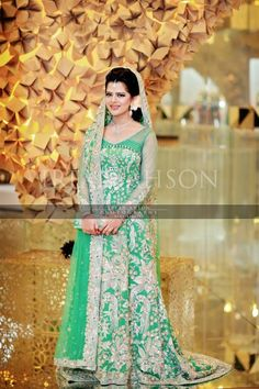Green sharara for a Pakistani bride