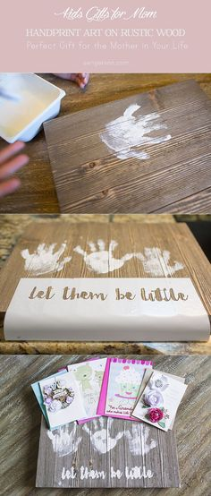 Handprint gift for mom using rustic wood pallet. Awesome gift that any mom would love! #HallmarkForMom #ad @Walmart