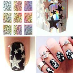 9 Советов/Лист Лазер Звезда ногтей винилы для ногтей трафареты Выдолбите ногтей наклейки ногтей инструменты для DIY NF207 #23872