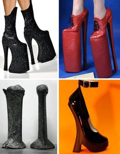 High heels give a graceful, elegant look, and the height of a model. Just like anything, though, extremes can be ridiculous. Incredibly tall high heels can add an artistic flair to a model walking down the runway, but there is an element of very real danger. A lot of women have twisted their ankles, and taken bad spills.