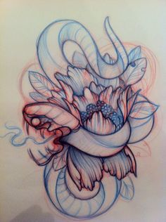 Great Snake Tattoo Sketch. I would make the snake look less aggressive, but it's a great idea!