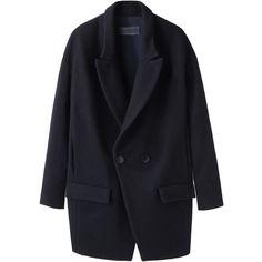 Jasmin Shokrian Draft No. 17 Felt Dissen Coat ($449) ❤ liked on Polyvore featuring outerwear, coats, jackets, coats & jackets, tops, double-breasted coat, lapel coat, long sleeve coat, black coat and black double breasted coat