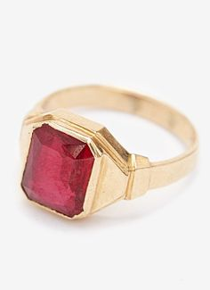 PRODUCT DESCRIPTION Vintage Men's Ruby Ring curated by Gilded Lane. A classic men's staple piece for anyone wanted to wear a pop of color on their hand. Marked and tested 14K Gold Men's Ring with a te