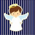 Mini Confeti Batizado Menino Azul Marinho e Branco