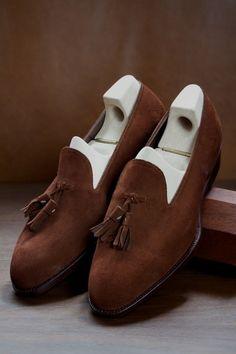 ethandesu: Uno Saint Crispin's custom suede tassels Classic Last, Cuban Heel, Original Model