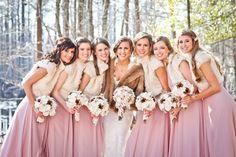 pink bridesmaid dress for winter vestiti damigella invernali rosa