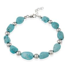@Overstock.com - Alternating chunks of turquoise and smooth sterling beads give this silver nugget bracelet a contemporary and classic appeal that will look remarkable with all of your causal outfits, and the lobster-claw clasp makes it easy to take off and put on.http://www.overstock.com/Jewelry-Watches/Glitzy-Rocks-Sterling-Silver-Turquoise-Nugget-Bracelet/2529864/product.html?CID=214117 $19.49