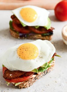 Avocado BLT's with Spicy Mayo and Fried Eggs.    howsweeteats.com