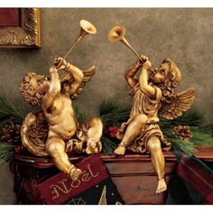Trumpeting Angels Italian Baroque style Elegant angels with trumpets in the air. These Italian inspired cherubs bring refinement to any room. Wonderful gift for any angel lover. Made of resin Each approx. Angel Sculpture, Lion Sculpture, Bernini Sculpture, Saint Peter Square, Italian Baroque, Angel Statues, Greek Statues, Angels Among Us, Trumpets