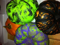 Instead of carving your pumpkin, just paint it. This is fun for all ages and it is an inexpensive way to celebrate Halloween! Just get acrylic paint and a few small paint brushes and paint away!