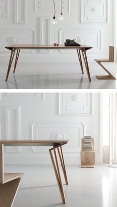Extending lacquered rectangular wooden #table OBLIQUE by ALIVAR | #design Andrea Lucatello @Alicia T T T T T Varrelmann