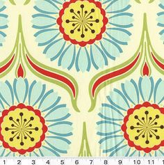 would love this design or similar on a wall in lounge  - bright bold big patterns maybe or tossing up black and white stencil Pop Daisy in Red - Heather Bailey Fabric. $8.50, via Etsy.