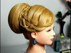 Wedding prom updo, hairstyles for long hair. Вечерняя прическа. Плетение косичек. Роза из волос. - YouTube