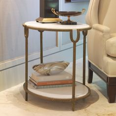 Holly Oval Table - White Honed Marble Top with Gold Iron Painted Finish  $1318