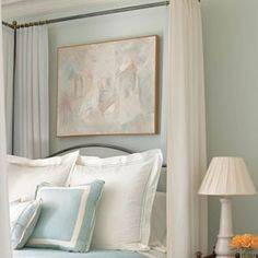 "SHERWIN-WILLIAMS TOPSAIL SW6217: ""I can't say it's aqua and I can't say it's gray. It's in the space between those colors. It's a very pale blue, and blue is a color that evokes calm. When the clouds clear and the sky displays its depths, or water reflects and distorts the sky, it reveals shades and hues that defy description but are deeply felt. Blue transports you inward to a contemplative state."" -MICHAEL SIMON"