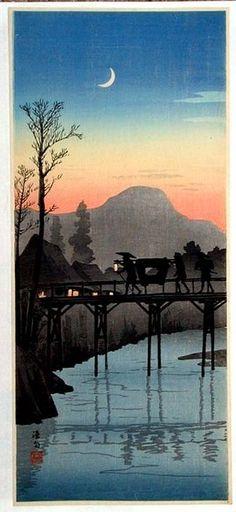 Takahashi Shotei~Figures Crossing a Bridge at Sunset