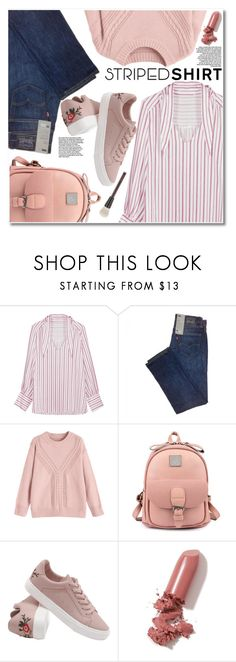 """""""Striped shirt"""" by gamiss ❤ liked on Polyvore featuring LAQA & Co., Kevyn Aucoin, casual, zaful and gamiss"""