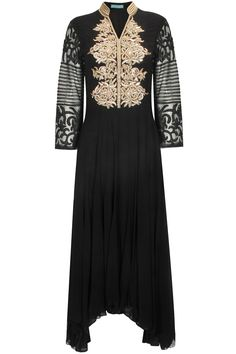 Black and mustard zardosi and tube work anarkali set available only at Pernia's Pop-Up Shop.