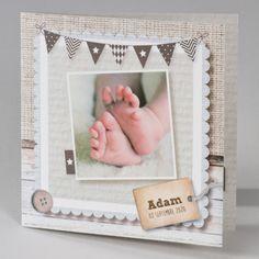 """Buromac Baby Folly II 586023 Faire-part naissance; Les motifs """"fil de lin"""" et """"bois"""" annonceront la naissance de votre enfant avec douceur. Les petits pieds sont pré imprimés. Ce faire-part aux teintes naturelles plaira à coup sûr !"""