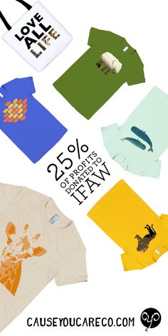 Check out Cause You Care's endangered species collection of t-shirts, tote bags, pillows and mugs. 25% of profits are donated to the International Fund for Animal Welfare. #endangeredspecies