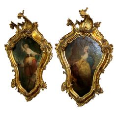 +++ Pair of Venetian ( Italian ) oils in carved giltwood frames+++ Vintage Walls, Vintage Prints, Accent Wall Decor, Feminine Decor, Antique Pictures, Tuscan Decorating, Tuscan Style, French Decor, Wood Carving