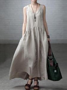 Stylish Vovo Beige Linen V-neck Sleeveless Ruffled Long Dress - Mode Frauen Boho Fashion, Womens Fashion, Fashion Design, Fashion Art, Vintage Fashion, Moda Casual, Casual Chic, Linen Tunic, Cotton Linen