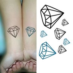 Tattoo Sticker Diamonds Pattern Waterproof Temporary Tattooing Paper Body Art