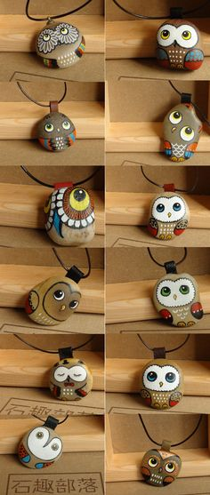 Owl Painted stones Pinned by www.myowlbarn.com