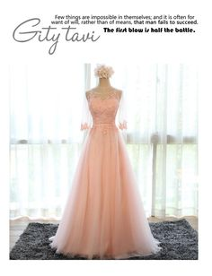 Lace Panel Elbow-Sleeve Evening Gown