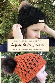 Chunky Crochet Hat, Crochet Hat With Brim, Crochet Beanie, Crochet Yarn, Knitted Hats, Single Crochet Stitch, Basic Crochet Stitches, Crochet Basics, Crochet Patterns