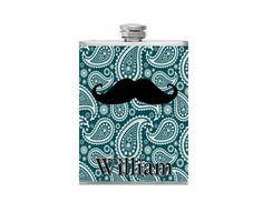 Check out this item in my Etsy shop https://www.etsy.com/listing/183628101/personalized-moustache-flask-paisley