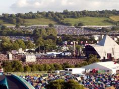 The site of the Glastonbury Festival. The event takes place most years on the land of farmer, Michael Eavis. The event attracts over 80,000 festival goers.