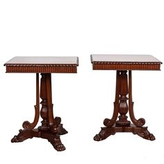 Pair of Anglo-Indian or British Colonial Mahogany Side Tables | From a unique collection of antique and modern furniture at https://www.1stdibs.com/furniture/asian-art-furniture/furniture/
