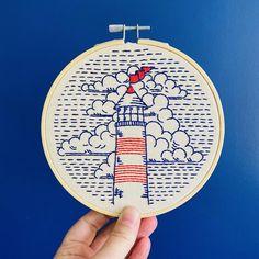 Komplette Stickerei Kit: Leuchtturm Leuchtturm | Etsy Embroidery Needles, Embroidery Patterns, Hand Embroidery, Nova Scotia, Modern Embroidery, Simple Embroidery, Embroidery For Beginners, Craft Kits, Cross Stitching