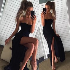 Women Fashion Hot Sleeveless Backless Bra Stylish Clubwear Side Split Long Dress -- BuyinCoins.com