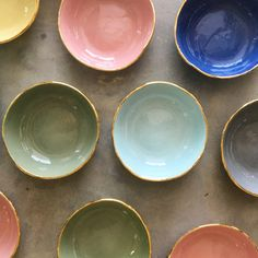 Mini bowls with gold trim. 29 CHF at www. Chf, Organic Shapes, Tapas, Bowls, Artisan, Ceramics, Dishes, Tableware, Mini