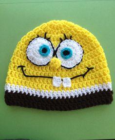 Ready to Ship Crochet Sponge Bob hat 912 by KidsAtHeartCrochet, $20.00