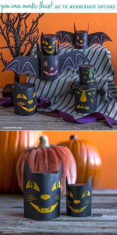 DIY Halloween Lanterns - Lia Griffith - www.liagriffith.com #diyinspiration #diyidea #diyideas #diyhalloween #paperlanterns #paperart #papercut #madewithlia