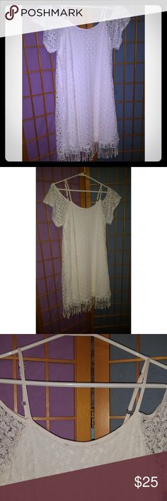 Cream Cold Shoulder Crochet Dress Small Excellent condition, beautifully elegant design. Very light and flowy, would fit any figure size small. C Dresses Midi