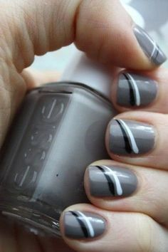 Grey polish with black and white stripes nails nail art design.never thought to put stripes like that Gray Nails, Striped Nails, White Nails, Love Nails, How To Do Nails, Fun Nails, Nagel Hacks, Grey Nail Designs, Nagel Gel