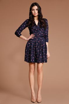 shoshanna - Navy Sunset Dot Zooey Shirtdress
