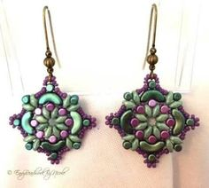 Beaded earrings/greens and purples